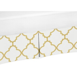 Sweet Jojo Designs White and Gold Trellis Collection Toddler Bed Skirt
