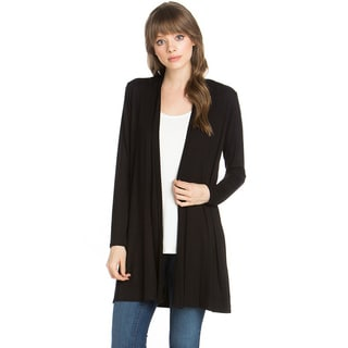 JED Women's Solid Soft Rayon and Spandex Long Sleeve Cardigan