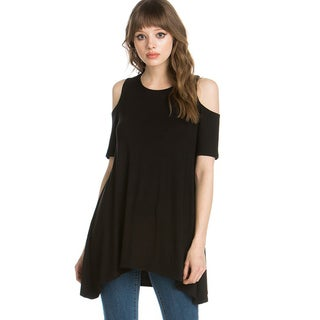 JED Women's Rayon Blend Cold Shoulder Trapeze Tunic Top