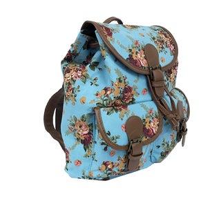 ALFA Floral Print Cotton Canvas Fashion Backpack