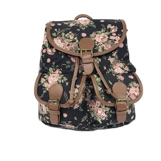 ALFA Floral Print Cotton Canvas Fashion Backpack