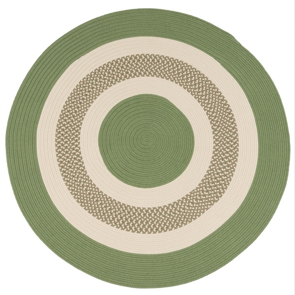 Green Indoor/Outdoor Round Braided Rug (6' x 6') - 6' x 6'