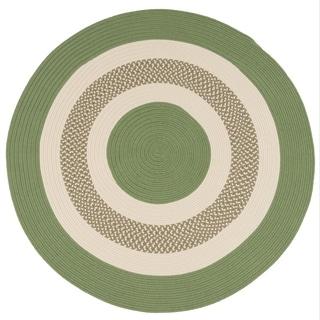 Green Indoor/Outdoor Round Braided Rug (6' x 6') - 6' x 6'