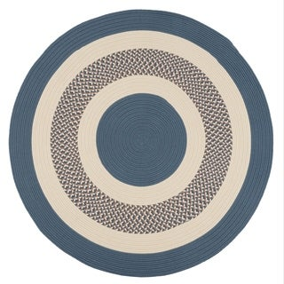 Indoor/ Outdoor Blue Round Braided Rug (6' Round)