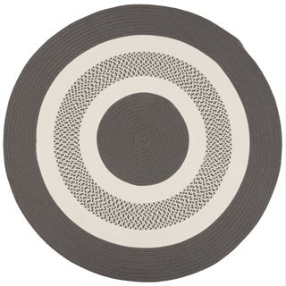 Round Grey Indoor/ Outdoor American Made Braided Rug (6' Round)