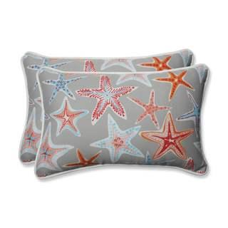 Pillow Perfect Outdoor/ Indoor Stars Collide Pewter Rectangular Throw Pillow (Set of 2)