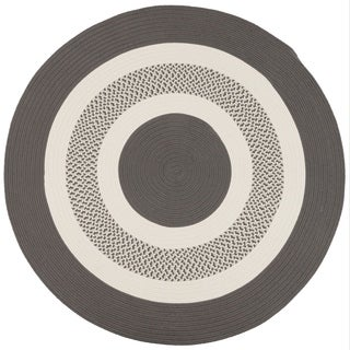 Grey Indoor/ Outdoor Round American-Made Braided Rug (8' Round)