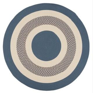Blue Round Indoor/Outdoor Braided Rug (8' x 8') - 8' x 8'