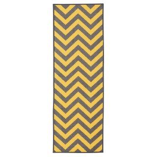 Anne Collection Yellow/Ivory/Grey/Blue Chevron Non-slip Runner Rug (1'10 x 4'11) (Option: Yellow)