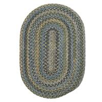 Rustic Multicolor Wool Oval Braided Rug - 5' x 8'