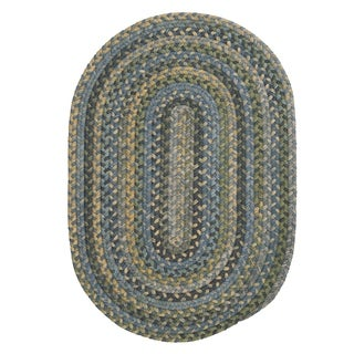 Rustic Multicolor Wool Oval Braided Rug (5' x 8') - 5' x 8'