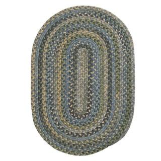 Rustic Multicolor Wool Oval Braided Rug