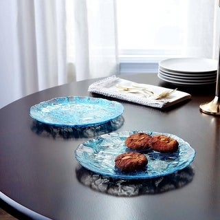 SEA STAR SET/2 DESSERT PLATES MIRROR BLUE