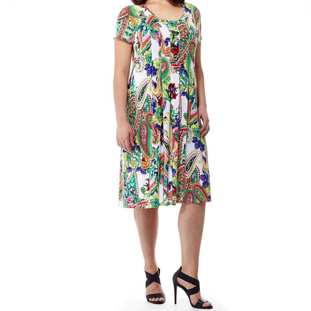 La Cera Womens Plus-size Short-sleeved Printed Dress
