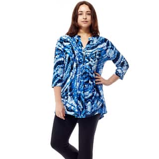La Cera Women's Plus Size Printed Pleated Tunic Top|https://ak1.ostkcdn.com/images/products/14639630/P21179077.jpg?impolicy=medium