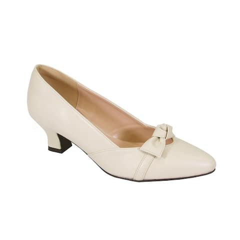 Fic Peerage Belle Women's Microfiber and Faux Leather Extra-wide-width Elegant Bow Accented Dress Pump