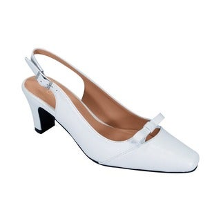 FIC PEERAGE Jodie Women's White Faux Leather Extra Wide Elegant Bow Accented Slingback Shoes (More options available)