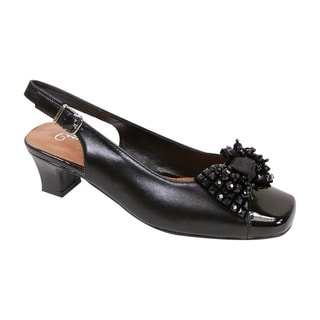 Fic Peerage Cathy Extra Wide Leather Beaded Bow Women's Slingback Dress