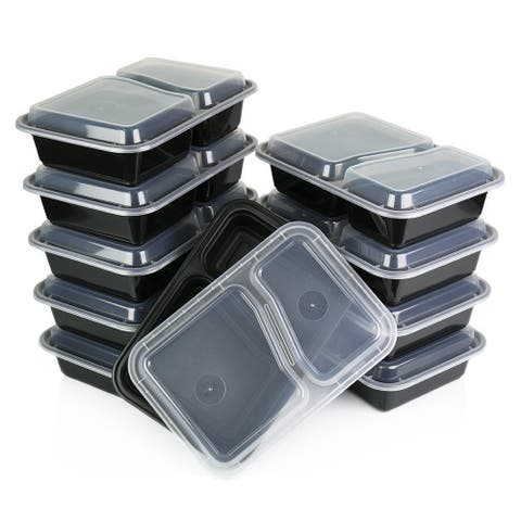 Heim Concept 2 Compartment Premium Meal Prep Food Containers with Lids (Set of 10)
