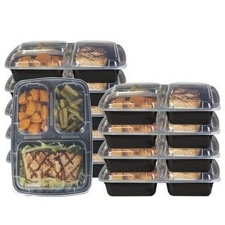 Heim Concept 3 Compartment Premium Meal Prep Food Containers with Lids (Set of 10)