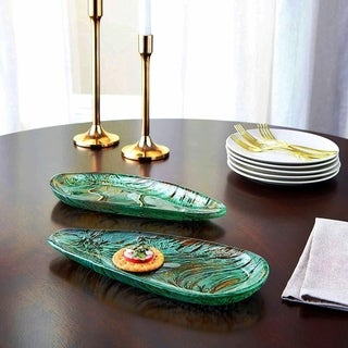 BALLAD SET/2 TRIANGLE PLATES TURQUOISE/BROWN