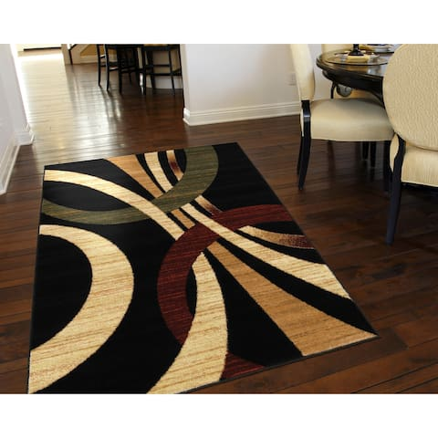"LR Home Grace Modern Black Indoor Area Rug ( 3'7"" x 5'6"" ) - 3'7"" x 5'6"""