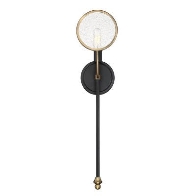 Oberyn 1-Light Vintage Black with Warm Brass Wall Sconce