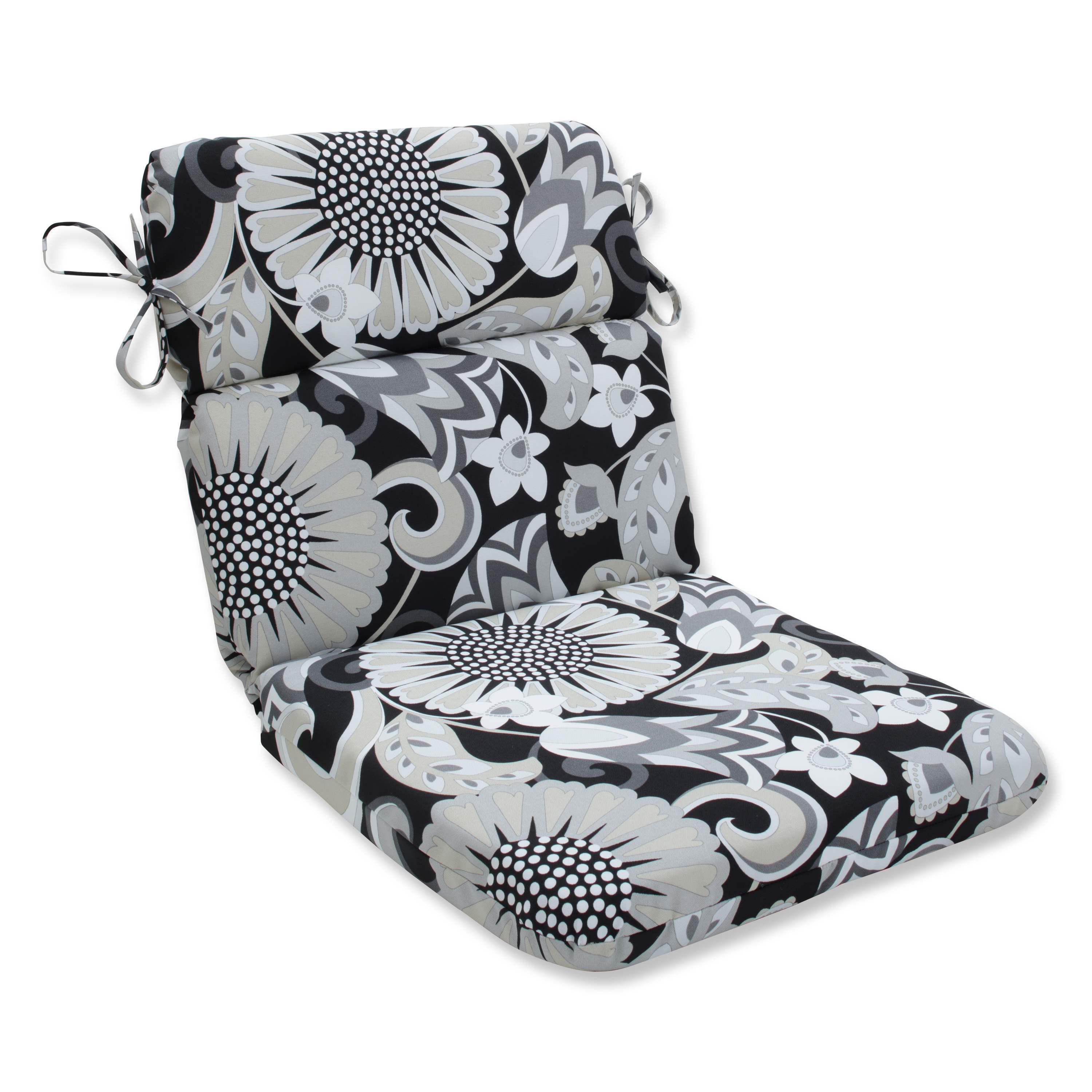 Pillow Perfect Outdoor/ Indoor Sophia Graphite Rounded Corners Chair Cushion (Rounded Corners Chair Cushion)