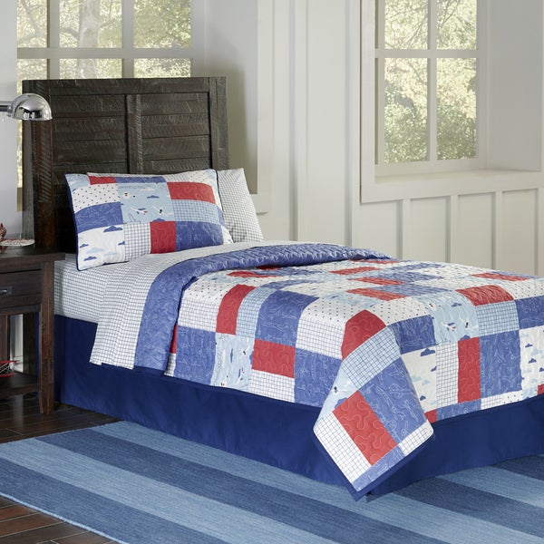 Lullaby Bedding Airplanes 100% Cotton Printed 3-piece Quilt Set