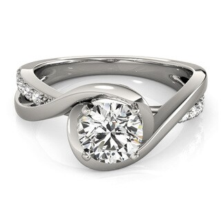 Transcendent Brilliance 14k White Gold 1/2ct TDW White Diamond Split Shank Engagement Ring (G-H, VS1-VS2)