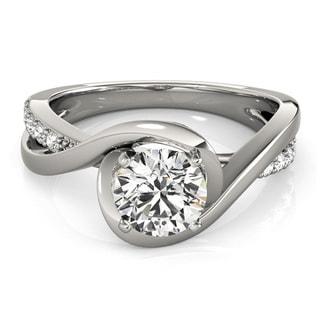 Transcendent Brilliance 14k White Gold 5/8ct TDW White Diamond Wrapped Shank Engagement Ring