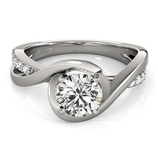 Transcendent Brilliance 14k White Gold 1 TDW White Diamond Intertwined Engagement Ring