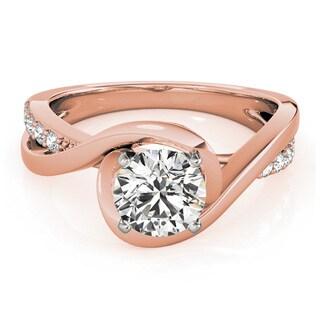 Transcendent Brilliance 14k Rose Gold 5/8ct TDW White Diamond Wrapped Shank Engagement Ring (G-H, VS1-VS2)
