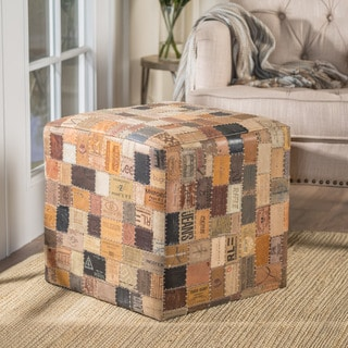 Marlboro Blue Jean Label Ottoman Pouf by Christopher Knight Home