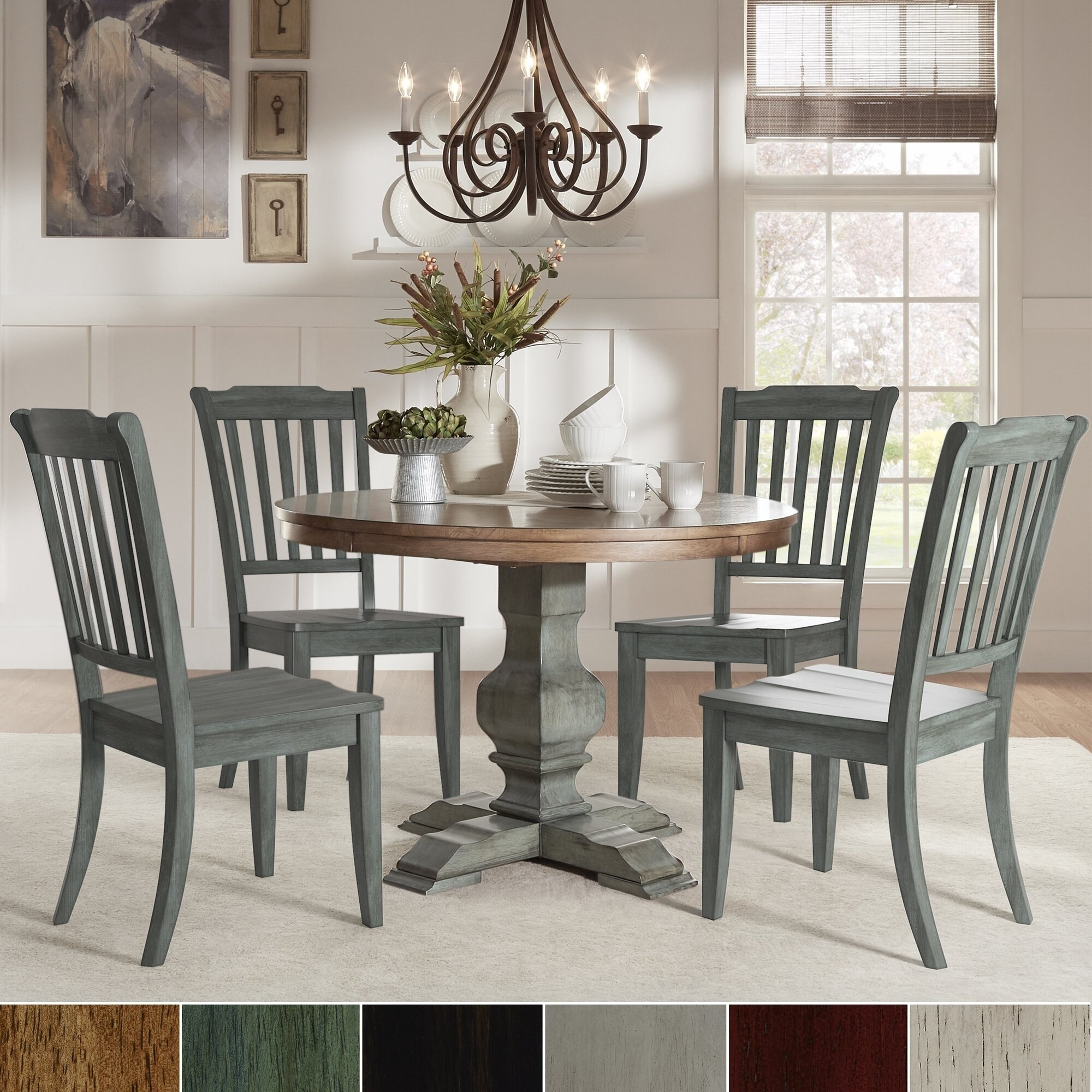Sage Green Dining Room: Eleanor Sage Green Round Soild Wood Top 5-Piece Dining Set