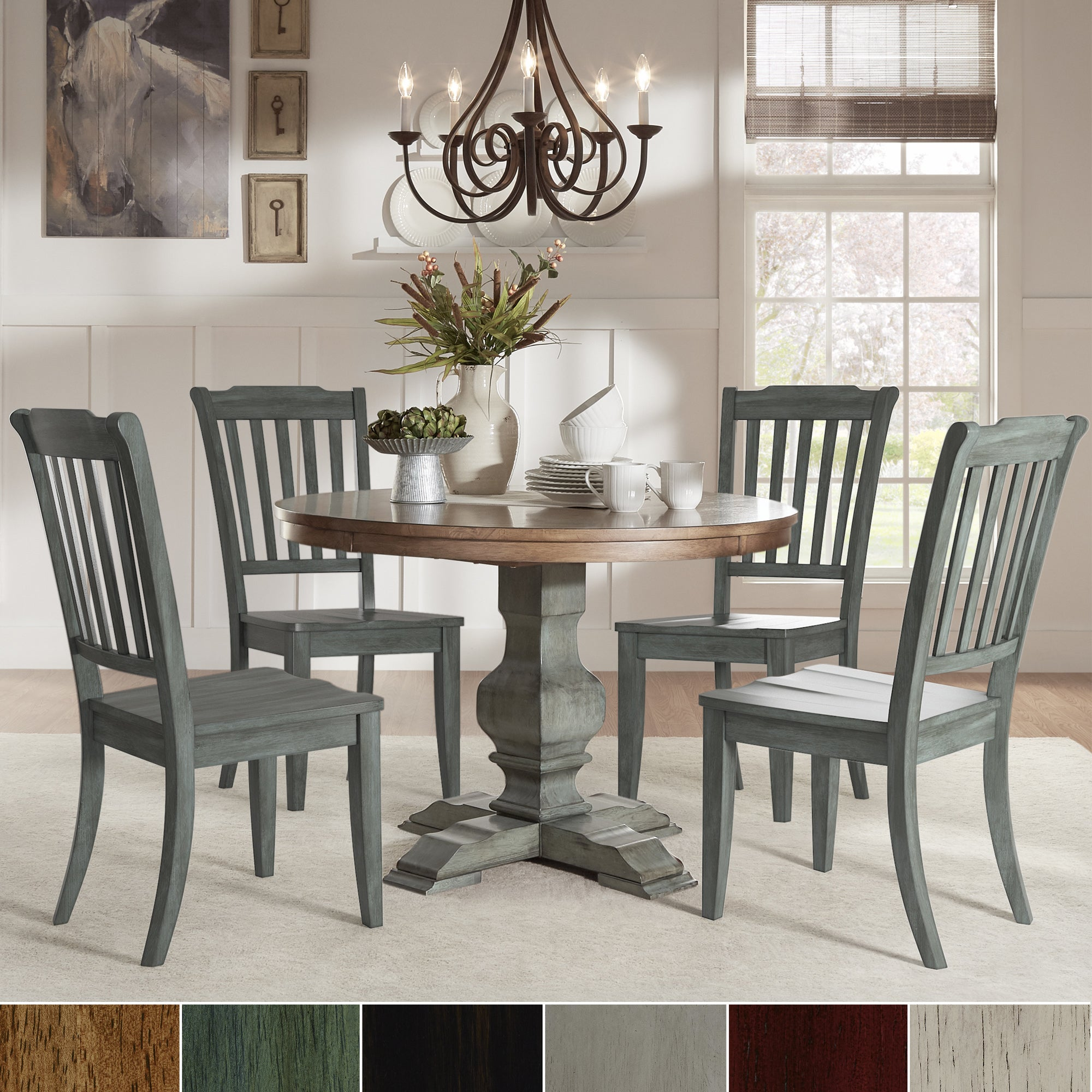Eleanor Sage Green Round Soild Wood Top 5 Piece Dining Set Slat Back By Inspire Q Clic