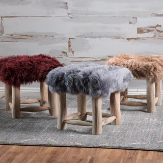 Nordic Sheep Hide Square Stool by Christopher Knight Home