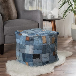 Brio Cotton/Jean Pouf by Christopher Knight Home|https://ak1.ostkcdn.com/images/products/14641186/P21180462.jpg?impolicy=medium