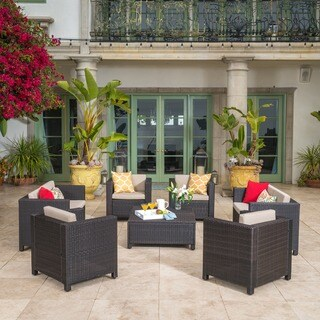 Puerta Outdoor 8-piece Wicker Sofa Set with Cushions by Christopher Knight Home (3 options available)