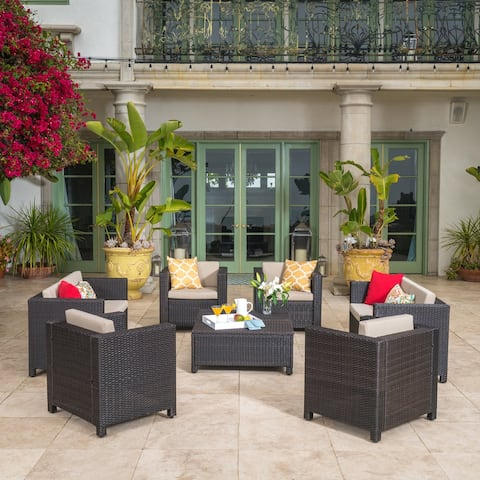 Puerta Outdoor 8-piece Wicker Sofa Set with Cushions by Christopher Knight Home
