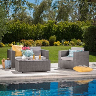 Murano Outdoor 3-piece Wicker Chat Set with Cushions and Storage by Christopher Knight Home