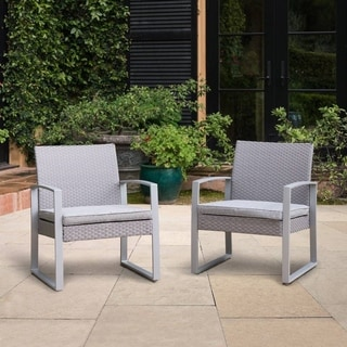 corvus alsace grey wicker patio chairs with cushions set of 2