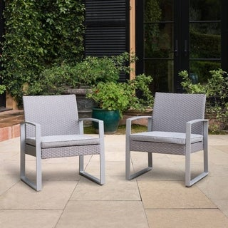 Corvus Alsace Grey Wicker Patio Chairs with Cushions (Set of 2)