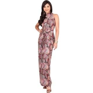 Koh Koh Women's Sexy Halter Floral Print Maxi Dress