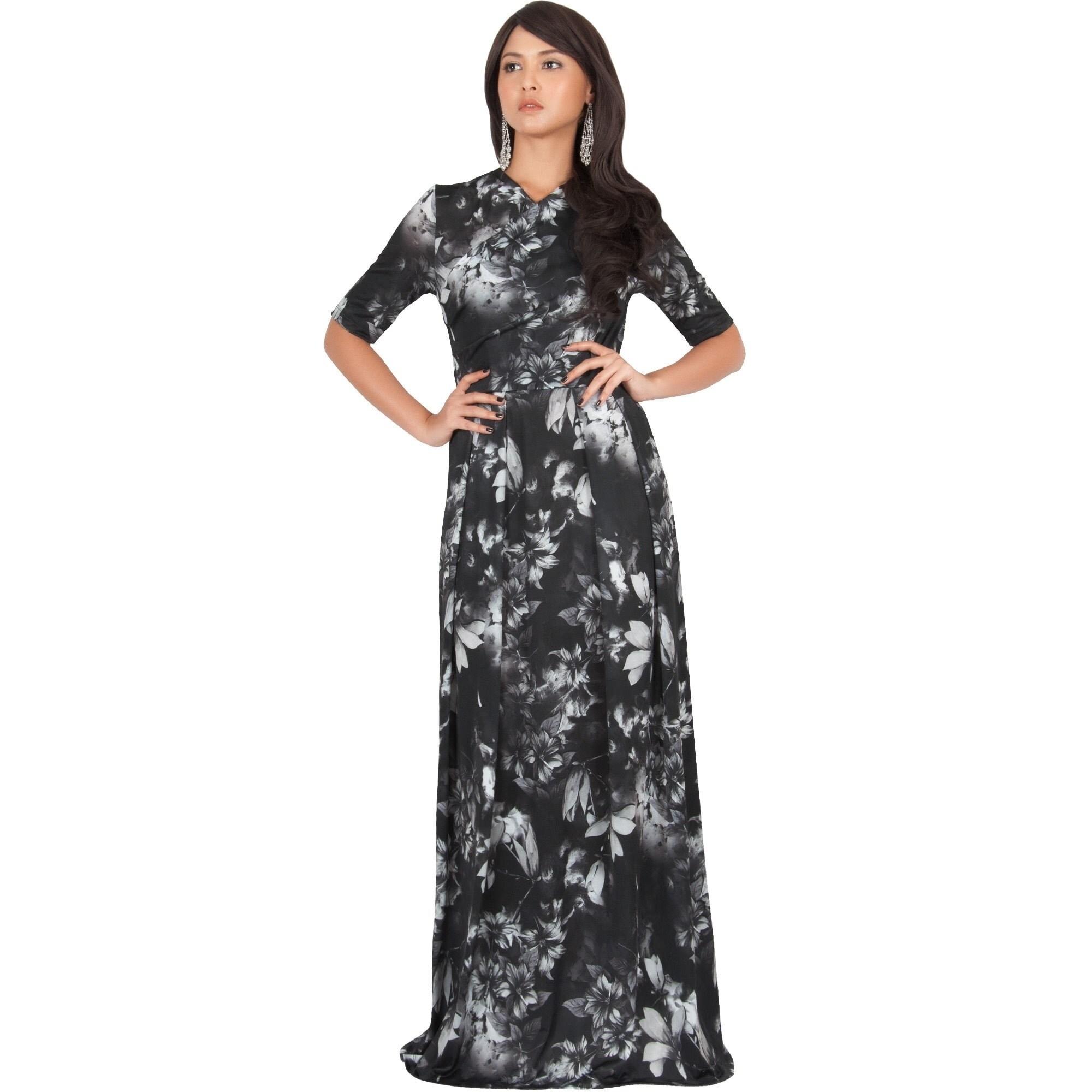 f1ab4ffb5998 Koh Koh Women s Long Summer Floral-print Short-sleeved Flowy Maxi Dress