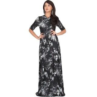 Koh Koh Women's Long Summer Floral-print Short-sleeved Flowy Maxi Dress