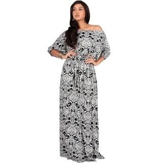Koh Koh Women's Long Retro Print One-shoulder 3/4-sleeve Maxi Dress