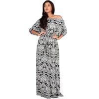 KOH KOH Long Off Shoulder Boho Print 3/4 Sleeve Sexy Maxi Dress Gown