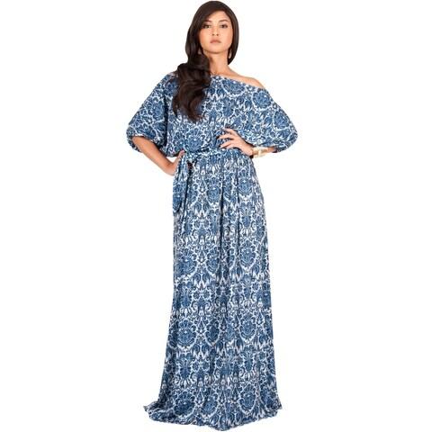 KOH KOH Women's Long Boho One-shoulder 3/4-sleeve Summer Maxi Dress