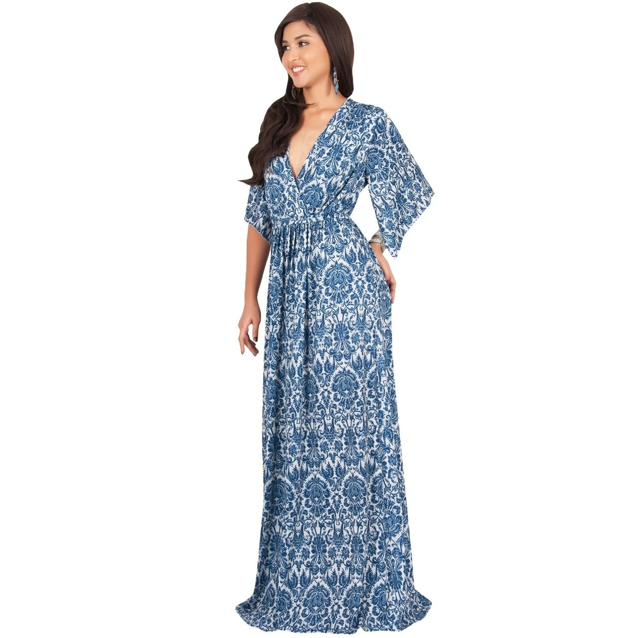 d5baa85631f KOH KOH Womens Long Bohemian Print Short Sleeve Empire Maxi Dress